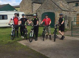 Cyclists setting off from Wydon Farm