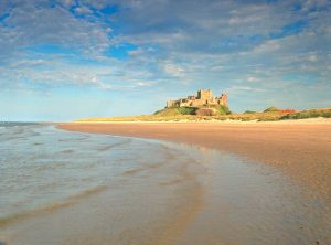 Bamburgh Castle, on the Northumberland coast